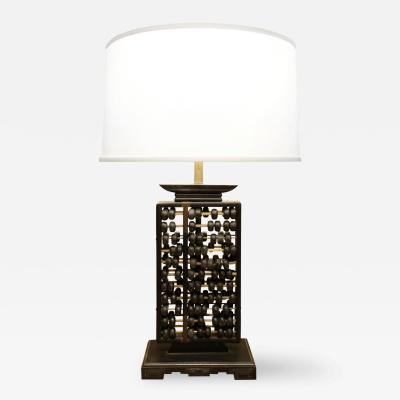 Warren Kessler Abacus Table Lamp with Brass Accents 1940s
