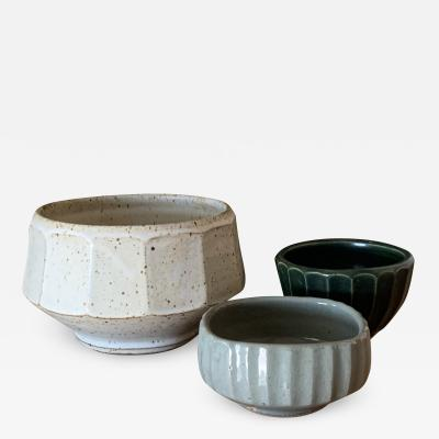 Warren MacKenzie Set of 3 Faceted Studio Ceramic Bowls by Warren MacKenzie
