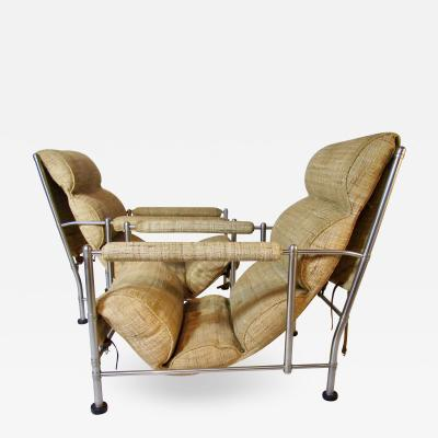 Warren McArthur Warren McArthur Pair of Stainless Steel Lounge Chairs and Ottoman Circa 1935