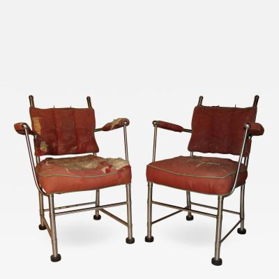Warren McArthur Warren McArthur Stainless Steel Armchairs Style No 1130 Au 1935 36 Unique Pair