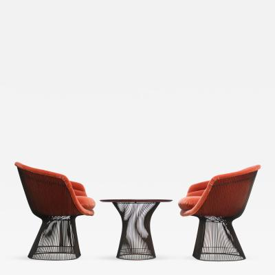 Warren Platner Pair of Warren Platner for Knoll Bronze and Mohair Lounge Chairs with Side Table