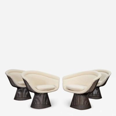 Warren Platner Warren Platner Bronze Lounge Chairs in Knoll Boucle