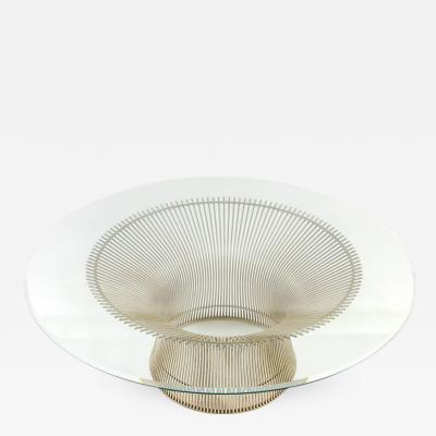 Warren Platner Warren Platner Glass Top Coffee Table with Sculptural Wire Base USA 1970s