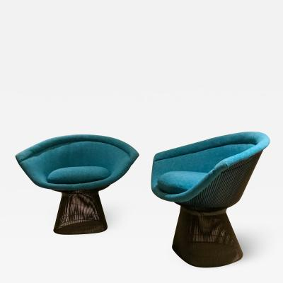 Warren Platner Warren Platner Inviting Teal Blue Bronze Steel Iconic Knoll Lounge Chairs 1966