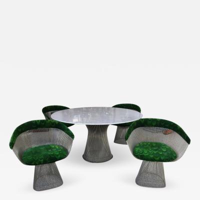 Warren Platner Warren Platner Knoll Marble Table Four Chairs Jack Lenor Larsen Fabric