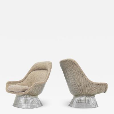 Warren Platner Warren Platner for Knoll Lounge Chairs in Beige Tan Wool Tweed 1980s