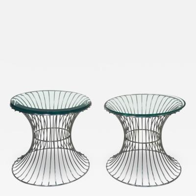 Warren Platner Wonderful Pair of Tables with Trumpeting Wire Bases by Warren Platner for Knoll