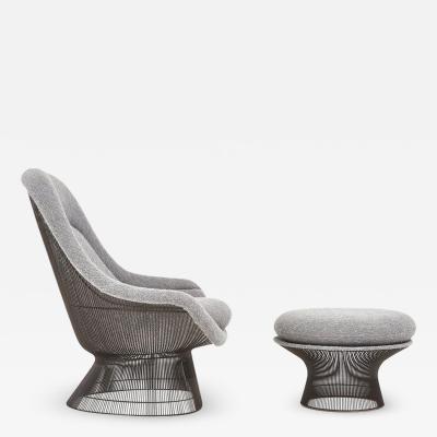 Warren Platner for Knoll Bronze Lounge Chair with Ottoman