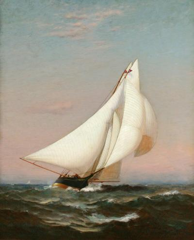 Warren Sheppard Portrait of a Sailing Yacht Flying the Burgee of the New York Yacht Club