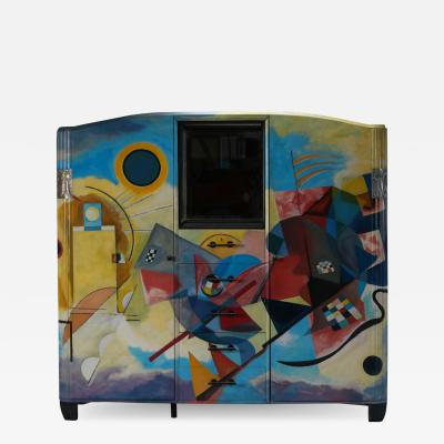 Wassily Kandinsky Art Deco Buffet Painted In The Style Of Kandinsky 1980s
