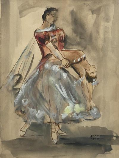 Watercolor of a Dancer Jean Toth France Circa 1940
