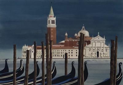 Watercolor on Paper Chiesa di San Maggiore Venice signed Michael Dunlavey