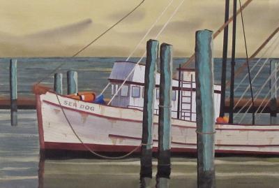 Watercolor on Paper Sea Dog Santa Barbara California signed Michael Dunlavey