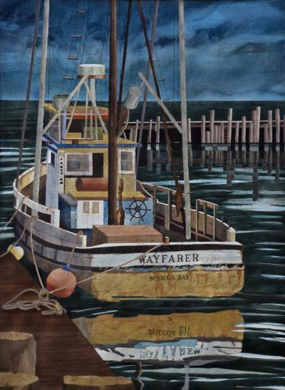 Watercolor on Paper Wayfarer Noyo Harbor California by Michael Dunlavey