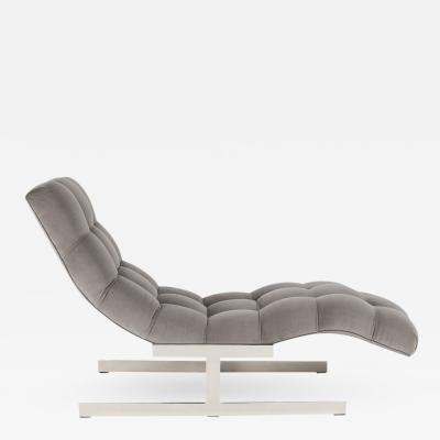 Wave Chaise Lounge in Gray Velvet