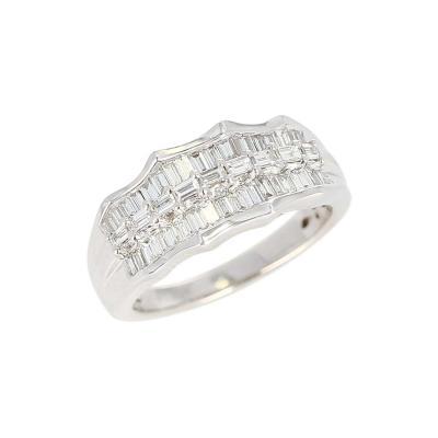 Wavy Row Platinum 1 Carat Baguette Diamond Bridal Ring