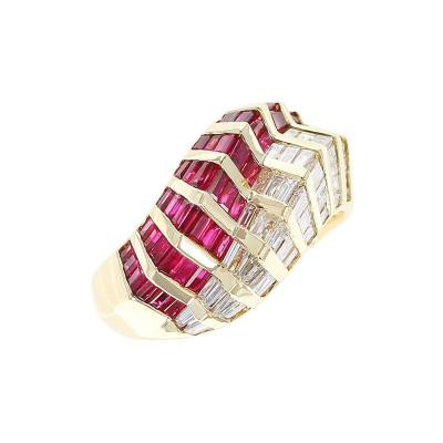 Wavy Ruby and Diamond Baguette Ring 18 Karat Yellow Gold