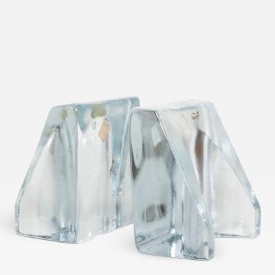 Wayne Husted Blenko Sculptural Glass Wedge Bookends by Wayne Husted Mid Century Modern