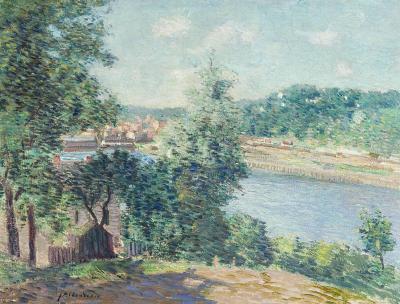Julian Alden Weir River Scene near Norwich Connecticut about 1910