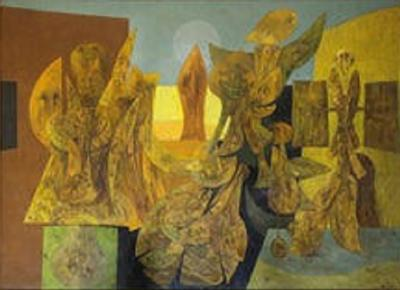 Weller Painting Composed of Futurist Organic Forms 1940s