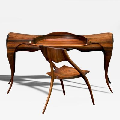 Wendell Keith Castle 1965 Wendell Castle Vermilion Desk and Chair