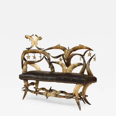 Wenzel Friedrich Rustic American Victorian Steer Horn Chaise
