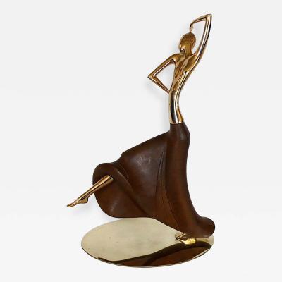 Werkst tte Hagenauer Early Brass Walnut Dancing Figure by Hagenauer