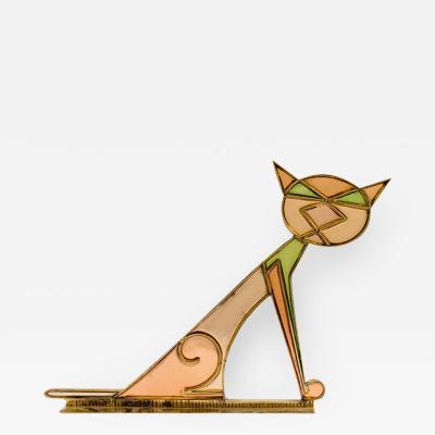 Werkst tte Hagenauer Hagenauer Cat Austrian Mid Century Brass Resin 1940s 50s Art Deco