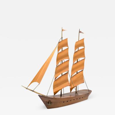 Werkst tte Hagenauer Marked Werkst tte Hagenauer Big Sailing Ship 1950s Brass Copper and Wood