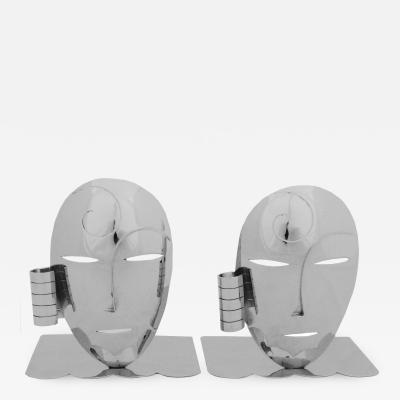 Werkst tte Hagenauer Pair of Mask Bookends by Hagenauer Werkstatte