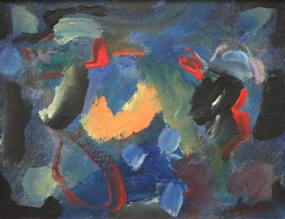 Wesley E Johnson Little Abstract Expressionist Painting by Wesley Johnson