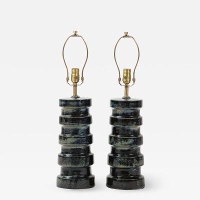 West German Blue Mottled Glaze Torem Lamps