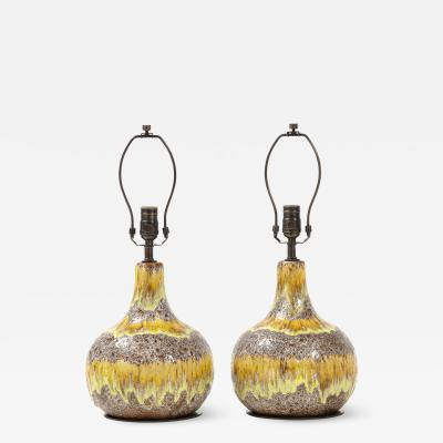 West German Yellow Brown Glazed Lamps