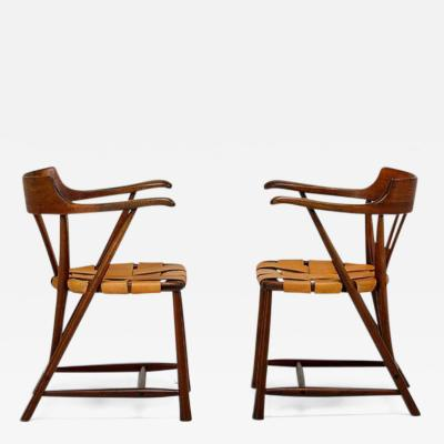 Wharton Esherick Rare Pair of Walnut Captain Chair by Wharton Esherick