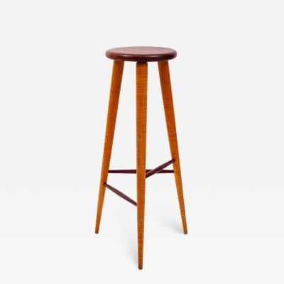 Wharton Esherick Walnut and Maple Studio Stool or Pedestal