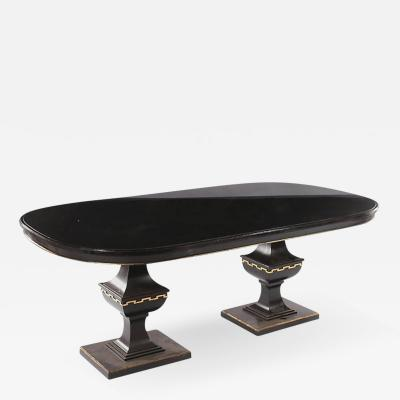 Whimsical Ebonized Dining Table with Glass Top on Urn Shaped Pedestal Base