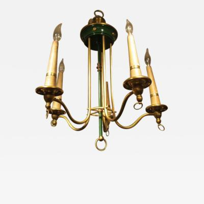 Whimsical French Tole and Brass Fixture
