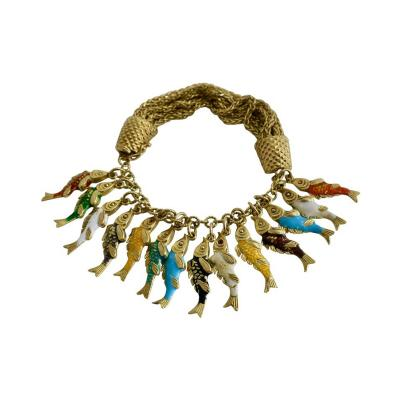 Whimsical Gold and Enamel Fish Charm Bracelet France
