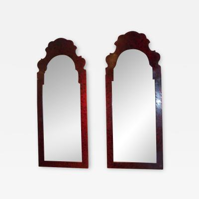 Whimsical Pair of Faux Tortoise Tole Mirrors