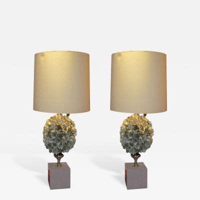 Whimsical and Unusual French Pair of Flower Lamps on Faux Painted