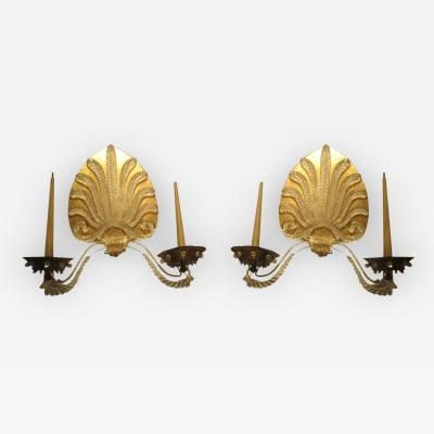 Whimsical and Unusual Pair of French 1940s 1950s Sconces
