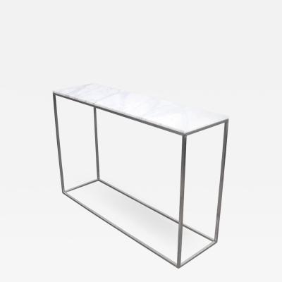 White Calacatta Marble and Aluminium Console Table