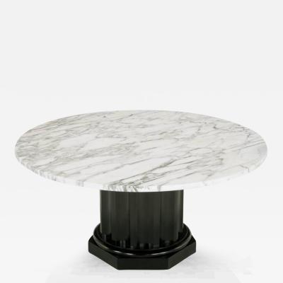 White Carrara Marble Coffee Table with Ebonized Fluted Wood Base