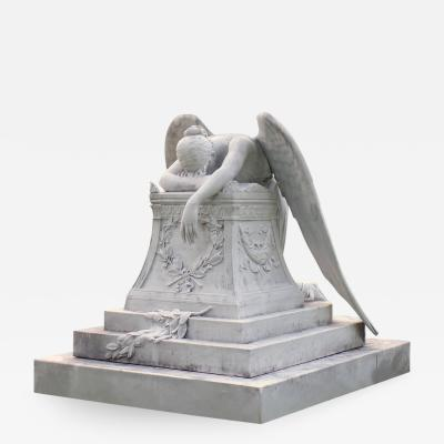 White Carrera Marble Angel of Grief Statue Hand Carved Reproduction