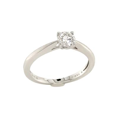 White Diamond Certified Color F on White Gold 18 k Solitaire Ring