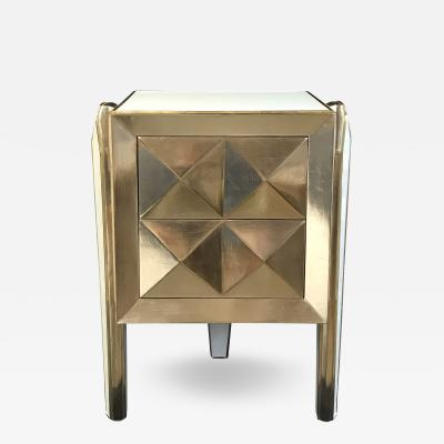 White Glass and Rose Gold Gilt Side Table