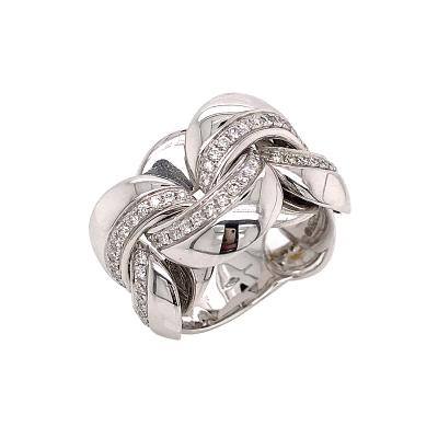 White Gold 18 K Link with Diamonds Round Shape Flexible Ring
