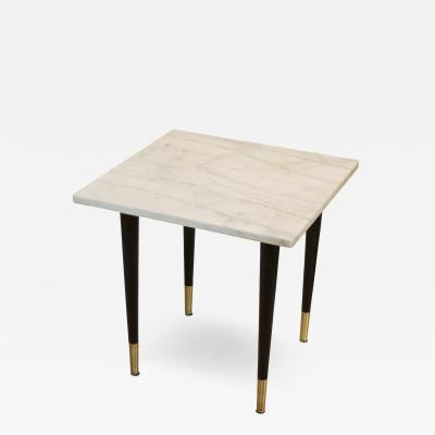 White Marble Top Side Table with Ebonized Legs