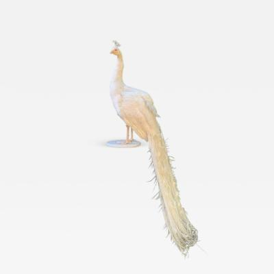 White Mounted Peacock on Stand