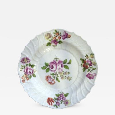 White Plate with Center Rose with Surrounding Floral Detail on the Rim